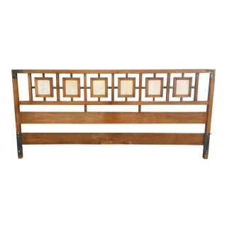 Vintage Travertine & Brass Solid Wood Headboard