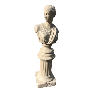 Vintage Carved Stone Goddess Bust Pillar