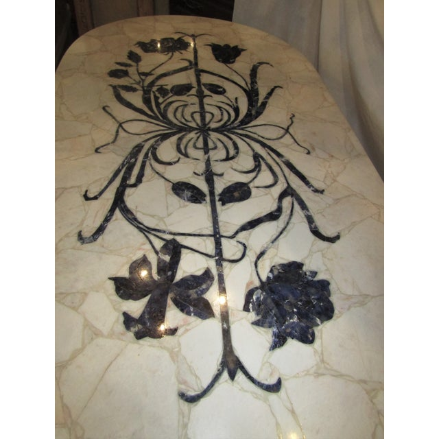 Marble Topped Wrought Iron Table - Image 4 of 6