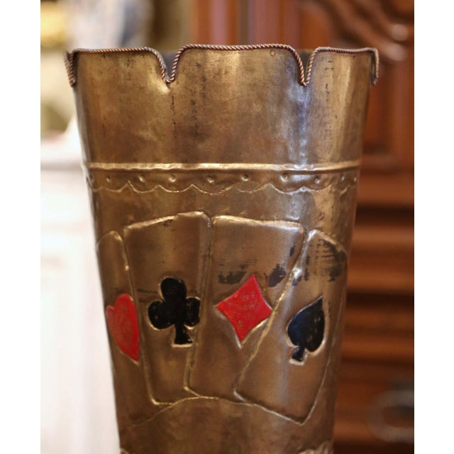 French Early 20th Century French Brass Umbrella Stand With Playing Card Symbols For Sale - Image 3 of 13