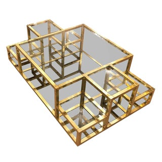 1960s Italian Multi-Level Brass Coffee Table For Sale