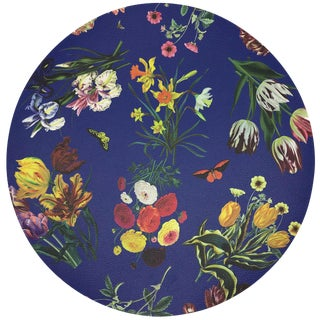 "Nicolette Mayer Flora Fauna Blue 16"" Round Pebble Placemats, Set of 4 For Sale"