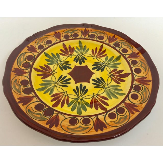 French Polychrome Hand Painted Ceramic Decorative Plate For Sale In Los Angeles - Image 6 of 12