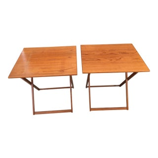 1960s Danish Modern Brdr Furbo Teak Folding Tables - a Pair For Sale