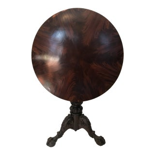 1800s English Flame Mahogany Tilt Top Table For Sale
