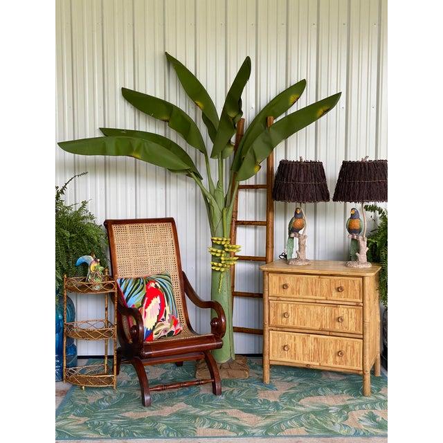 Vintage Coastal Regency Green Canvas Banana Palm Tree For Sale - Image 11 of 12