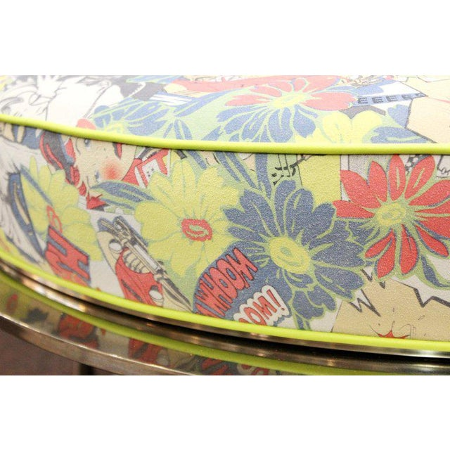 Mid Century Vintage Chrome Frame Ottoman With Pop Art Embossed Leather Upholstery For Sale - Image 9 of 10