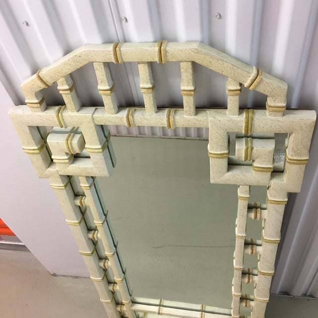 Labarge Vintage LaBarge Style White and Gold Greek Key Faux Bamboo Mirror For Sale - Image 4 of 7