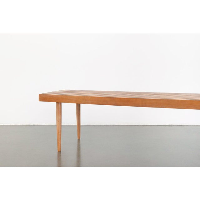 2000s Modern Nelson Style Slat Bench For Sale - Image 5 of 7