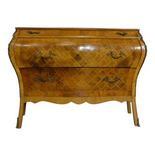 20th Century Italian Marquetry Bombe Commode For Sale