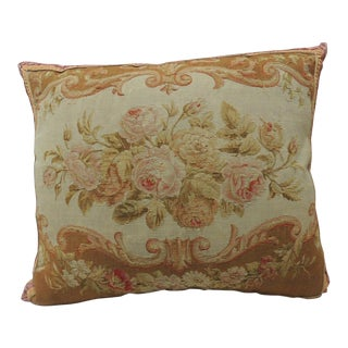 Large 19th Century Floral Aubusson Tapestry Pillow
