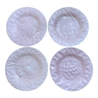 Vintage Pink Majolica Salad Plates by Bordallo Pinhiero - Set of 4 For Sale