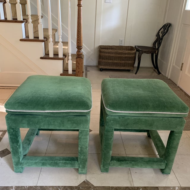 Awesome, all original Pair of velvet ottomans or benches by John Mascheroni for Swaim Circa 1978. Emerald green plush...