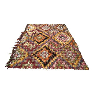 1960s Turkish Bohemian Floral Antique Handmade Rug For Sale