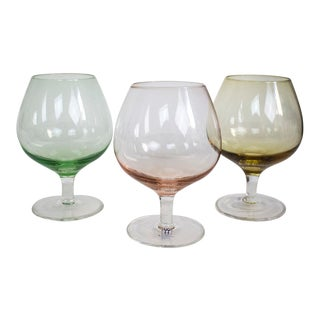 Vintage Pink and Green Crystal Brandy Snifters - Set of 3 - Set of 3 For Sale