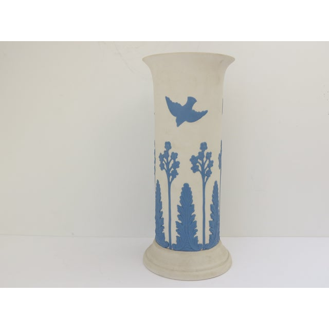 Lovely Ecanada Art Pottery Vase in a jasperware style detailed with birds and floral scenery. Marked, Ecanada Art Pottery...