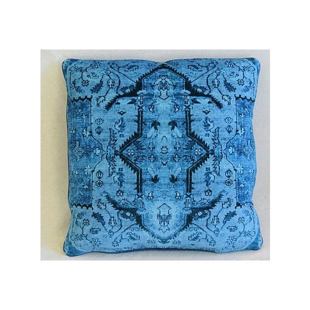 Pair of large reversible custom-tailored pillows in a vintage/never used ultra soft cotton velvet fabric depicting a...