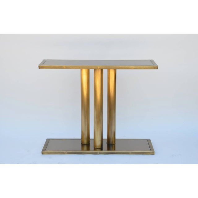 """Gold Contemporary """"Calandre"""" Narrow Brass Mirrored Console For Sale - Image 8 of 9"""