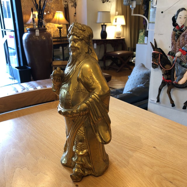 "Design Plus Gallery presents ""Caishen"" or ""Tsai Shen"" Brass Sculpture. It depicts the Chinese God Of Wealth, he is called..."
