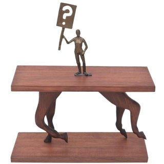 "One of a Kind Signed Bronze on Wood Sculpture Entitled ""Ask a Question"" For Sale"