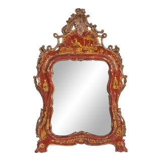 Chinese Chippendale Style Red Lacquered Wall Mirror For Sale