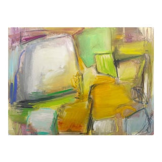 "Trixie Pitts's Glowing Large Abstract Expressionist Oil Painting ""Fields of Gold"""