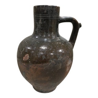 Antique Primitive Pottery Jug For Sale