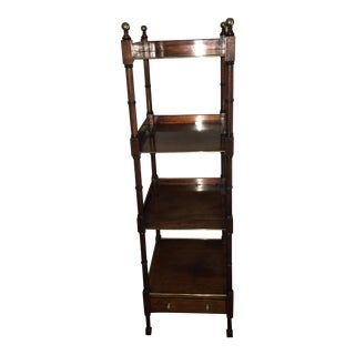 Antique Four Tier Mahogany & Faux Bamboo Music Stand For Sale