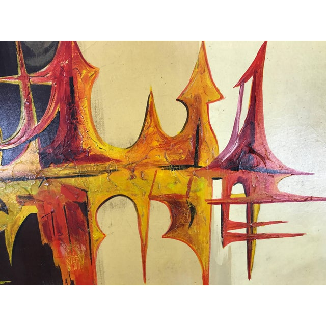 """Mid-Century Modern Large Modern Abstract Oil on Canvas """"Sound Wave"""" by Carlo of Hollywood For Sale - Image 3 of 6"""