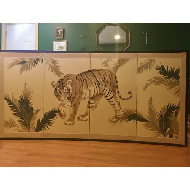Art Deco 1940's Tiger & Foliage Panel Painting on Silk - Image 3 of 7