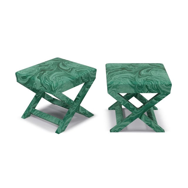 Contemporary Scalamandre X Bench in Malachite For Sale - Image 3 of 4
