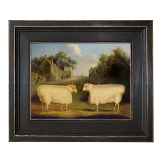 """Two Sheep"" Framed Oil Painting Reproduction Print on Canvas For Sale"