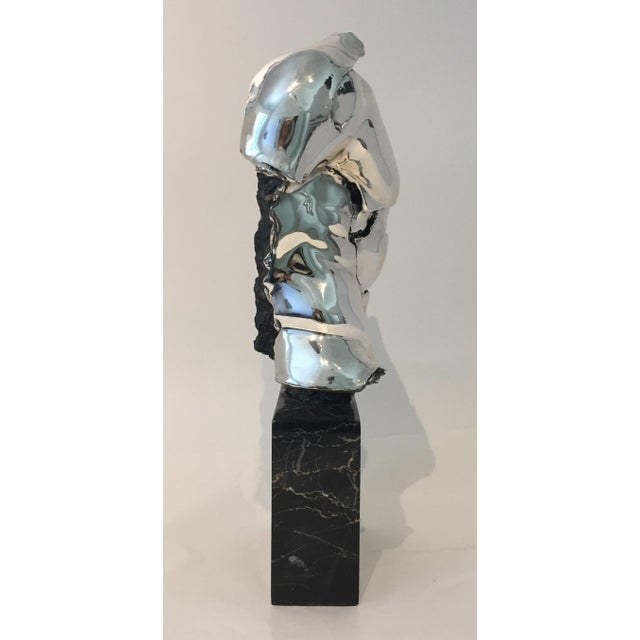 Modern Male Torso Sculpture by Zanfeld Taxco 999 Silver-Plate Black Marble For Sale - Image 3 of 9