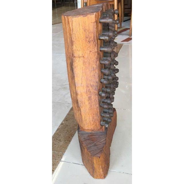 Mid-Century Brutalist Wood Sculpture - Image 8 of 8