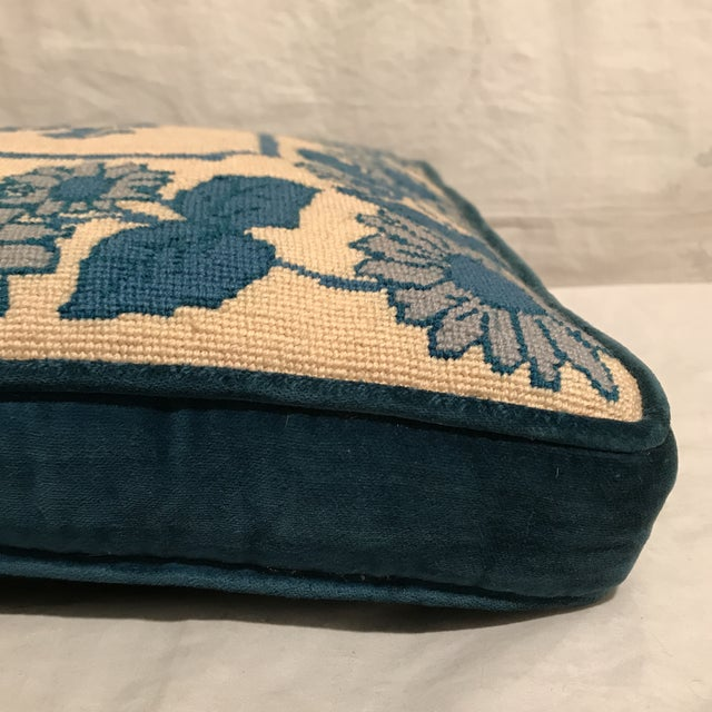 """Vintage blue & white needlepoint boxed pillow with """"R"""" emblazoned in center has zip closure for convenient cleaning when..."""