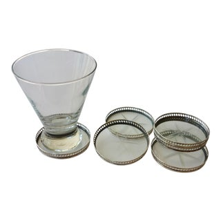 Vintage Stirling Silver & Glass Coasters - Set of 6