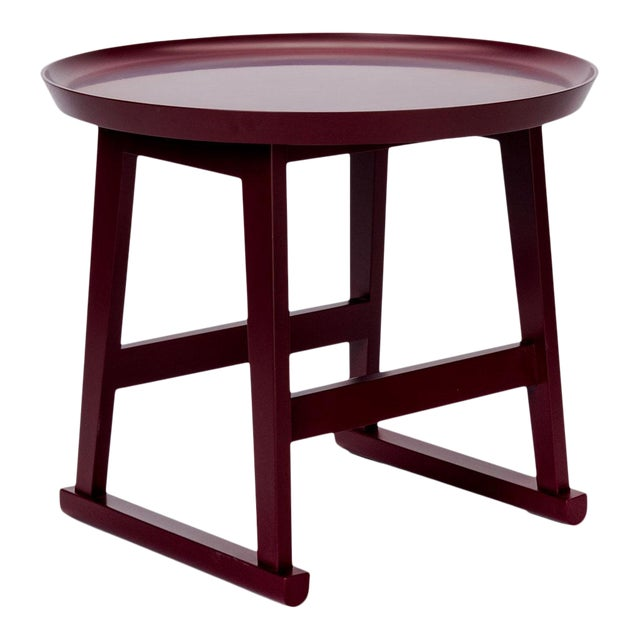 Red Matte Shellac Round Side Table, B&b Italia For Sale