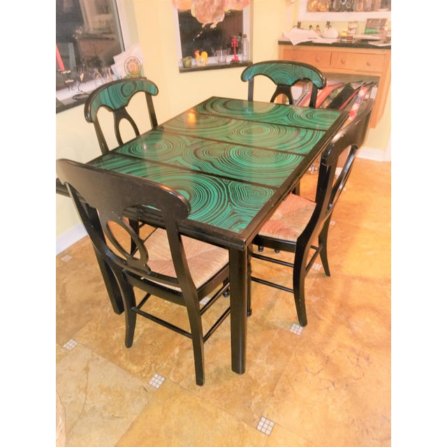 1970s Mid Century Faux Malachite Dining Set 5 Piece Set 1 Table 4 Chairs 2 Leaves All Matching! For Sale - Image 13 of 13