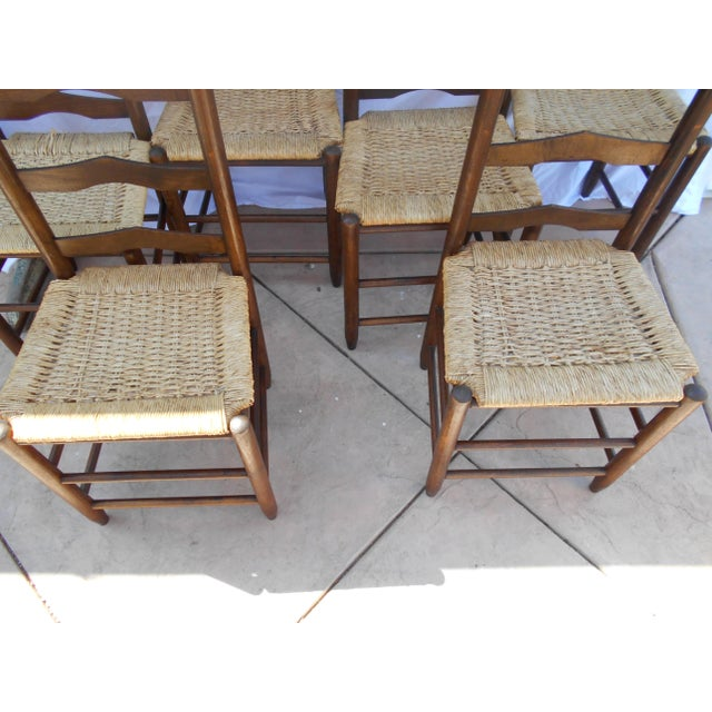Vintage French Ladder Back Dining Chairs - Set of 6 - Image 7 of 9