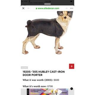 Antique Hubley Cast Iron Boston Terrier Door Porter Preview