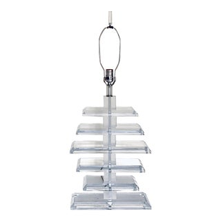 MCM Stacked Lucite Table Lamp For Sale