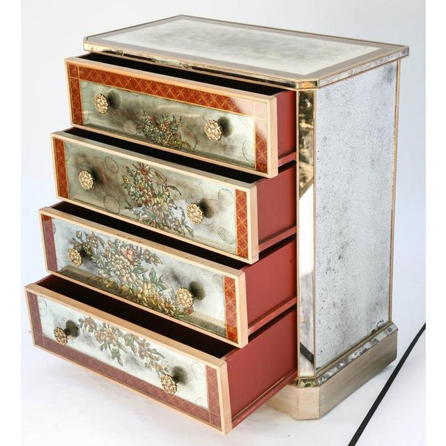 1940s Églomisé Mirrored Chest of Drawers - a Pair For Sale - Image 10 of 13