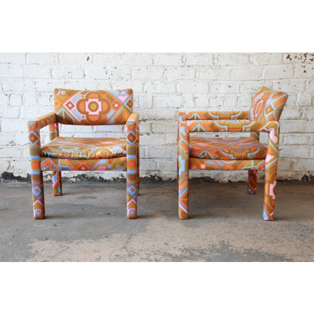 1970s Milo Baughman for Thayer Coggin Parsons Style Club Chairs in Outstanding Larsen Fabric For Sale - Image 5 of 13