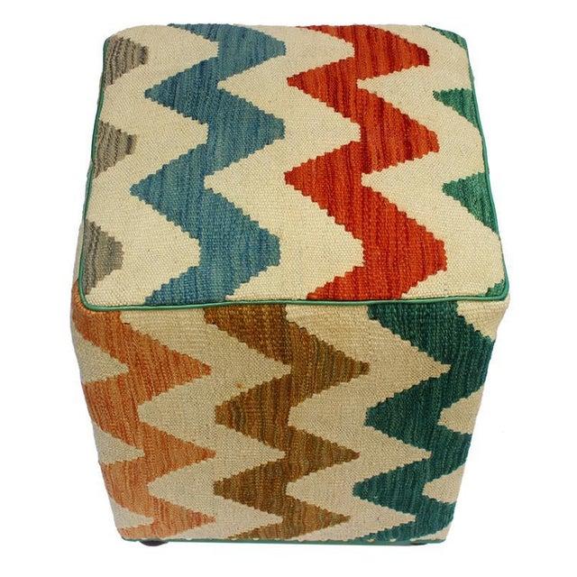 Arshs Corrine Ivory/Rust Kilim Upholstered Handmade Ottoman For Sale - Image 4 of 8