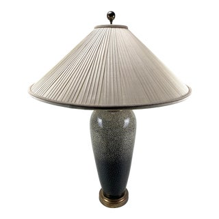 1980s Maitland-Smith Jean Dunand Inspired Eggshell Lacquer Lamp with Original Shade For Sale