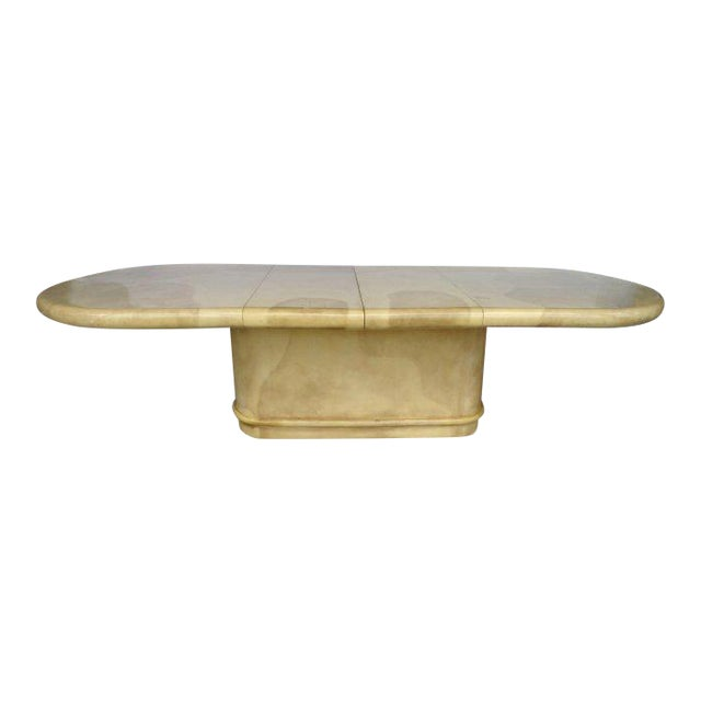Karl Springer Attributed 1970's Lacquered Goatskin Extension Table For Sale