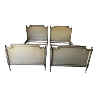 Antique French Provincial Twin Beds (2) Mustard/Beige C.1920s For Sale