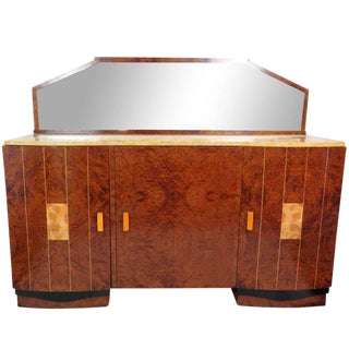 Mid Century Modern Burl Walnut Inlaid Marble-Top Sideboard With Mirror