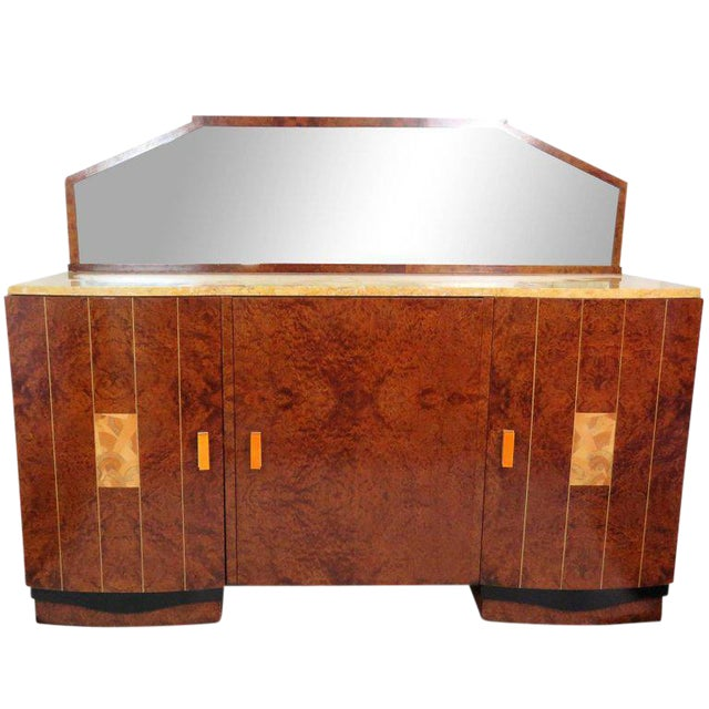 Mid Century Modern Burl Walnut Inlaid Marble-Top Sideboard With Mirror For Sale