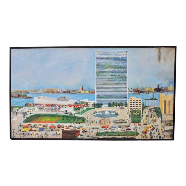 """Large Scale New York City """"United Nations"""" Folk Art Painting by Helen Mauldin C.1958 For Sale"""